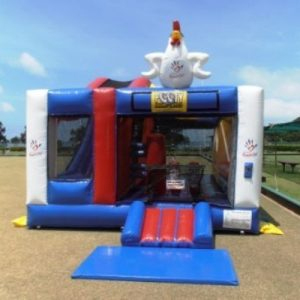 footy jumping castle - the roosters team